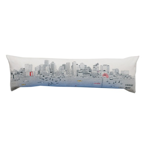 Spura Home Boston Skyline View Embroidered Queen Pillow Day/Night Cushion