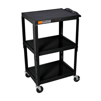 "Luxor 42"" Adjustable Height Steel Three Flat Shelves Electric Cart - Black"