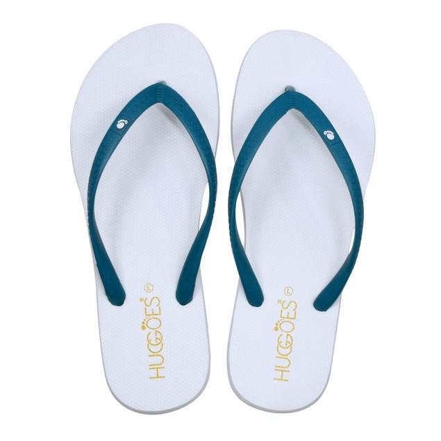 HUGGOES - Smoky Women's Natural Rubber Summer Flip-Flops - White/Turquoise