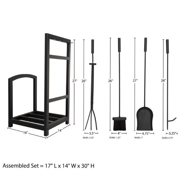 Metal Log Rack and Fireplace Tool Set Indoor Wrought Iron Home Decor