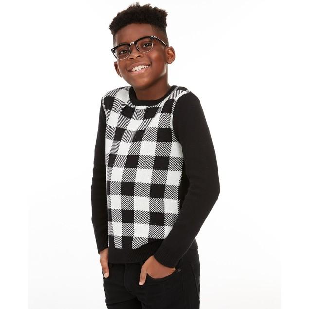 Charter Club Men's Big Boys Buffalo Check Family Sweater White Size Medium