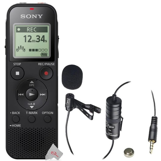 Sony ICD-PX470 Stereo Digital Voice Recorder with Built-in USB Voice Recorder + Vidpro Professional Lavalier Condenser Microphone