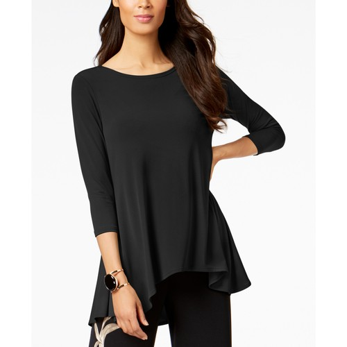 Alfani Women's Petite High-Low Jersey Tunic Top Black Size 59