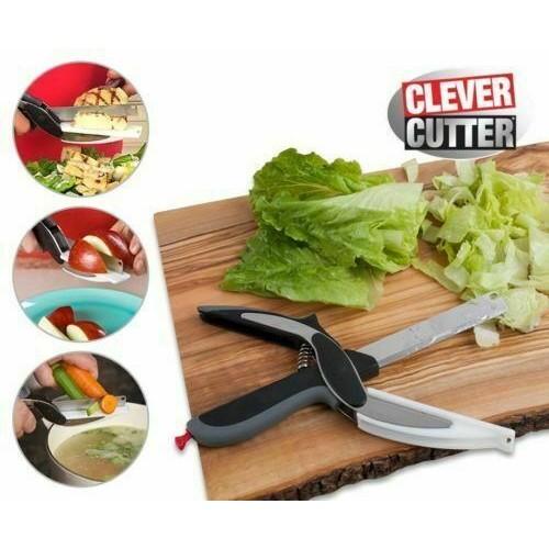 Clever 2-in-1 Knife & Cutting Board Scissors Chop/Slicer/Pizza Cutter