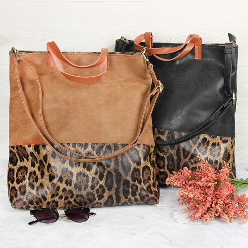 Leather Leopard Tote