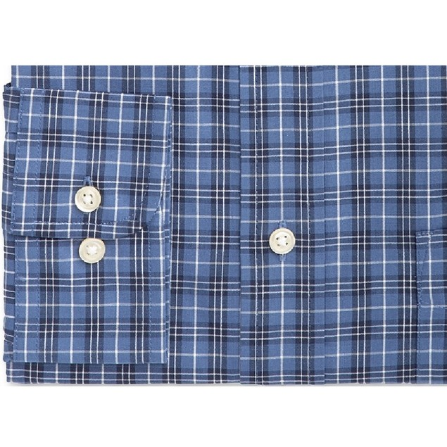 Club Room Men's Blackwatch Tartan Dress Shirt  Navy Size 18-34-35