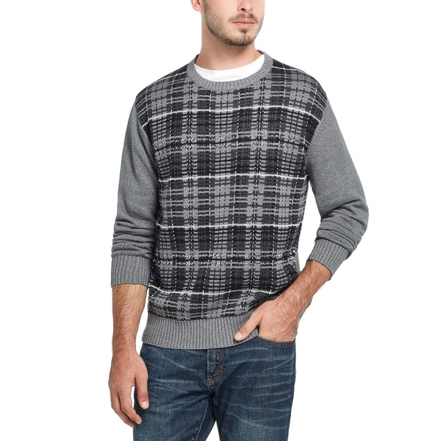 Weatherproof Vintage Men's Plaid Sweater Gray Size Extra Large