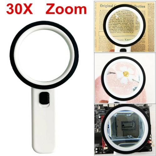 30X Jumbo Handheld w/12 Bright LED Light Illuminated Magnifier