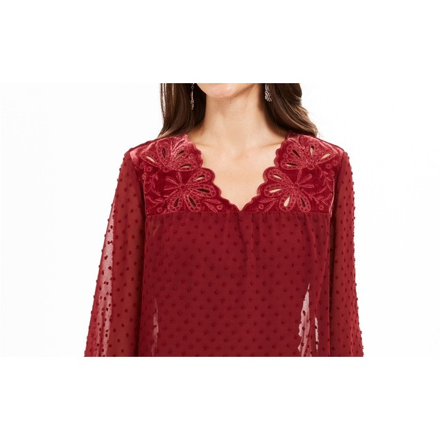 Style & Co Women's Mixed-Media Sheer-Sleeve Blouse Red Size Large