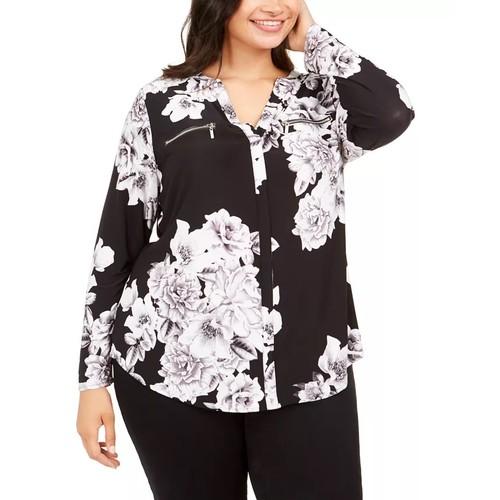 INC International Concepts Women's Plus Size Printed Top Black Size 1X