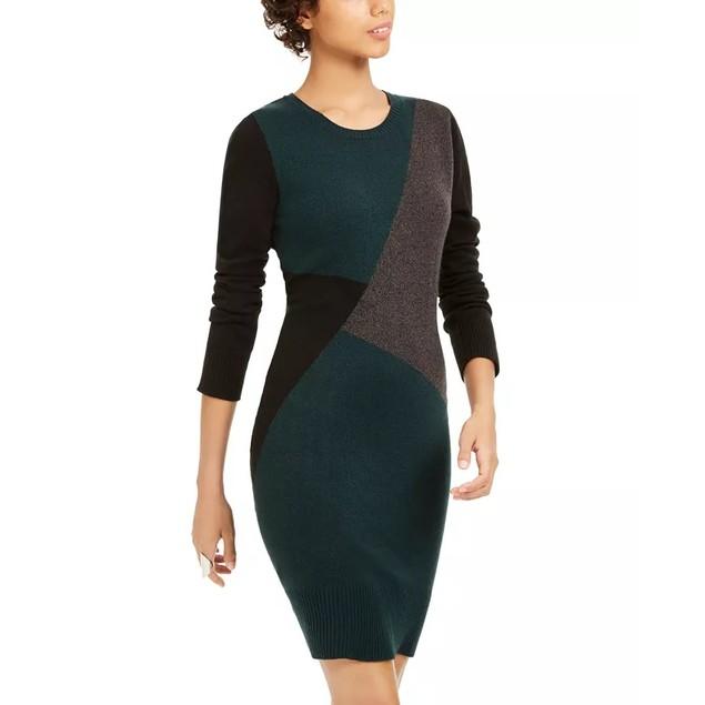 BCX Juniors' Colorblocked Sweater Dress Dark Green Size Large