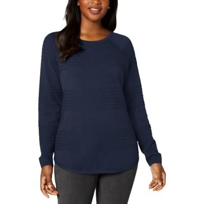 Karen Scott Women's Ribbed Cotton Pullover Sweater Blue Size Medium