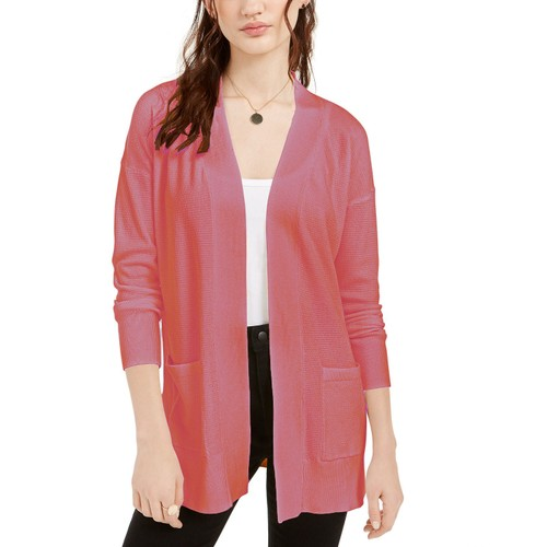 Pink Rose Women's Juniors' Open Cardigan Sweater Red Size Large
