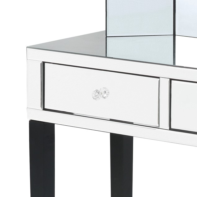 Juliet Vanity Table with Stool Set Mirrored 2-Drawer