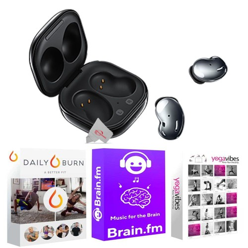 Samsung Galaxy Buds Live Noise-Canceling True Wireless Earbud Headphones Black  + 92783 Fitness and Wellness Plus Software Suite