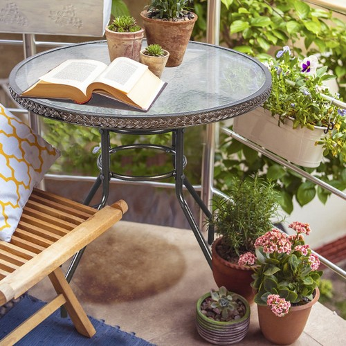 Costway 32'' Patio Rattan Round Table Tempered Glass Furniture Outdoor Coff