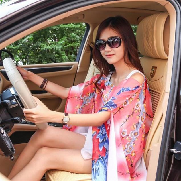 Women Chiffon Sunscreen Scarf Big Size Printed Silk Scarf