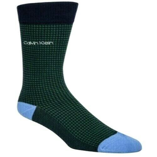 Calvin Klein Men's Houndstooth Crew Socks Green Size Regular