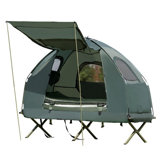 Goplus 1-Person Compact Portable Pop-Up Tent/Camping Cot Air Mattress Sleep