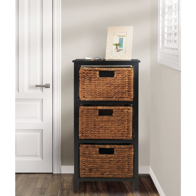 mDesign Wood Three Drawer Side Table and Basket Storage Unit