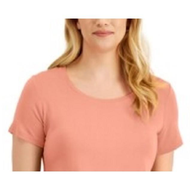 JM Collection Women's Scoop-Neck Top Orange Size Small