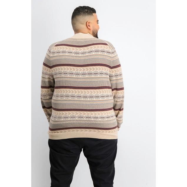 Tasso Elba Men's Striped Quarter-Zip Sweater Beigekhaki Size XX-Large