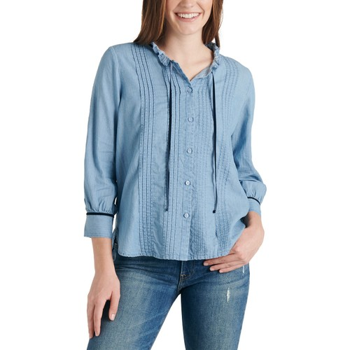 Lucky Brand Women's Quinn Pintuck Cotton Chambray Blouse  Blue Size Medium