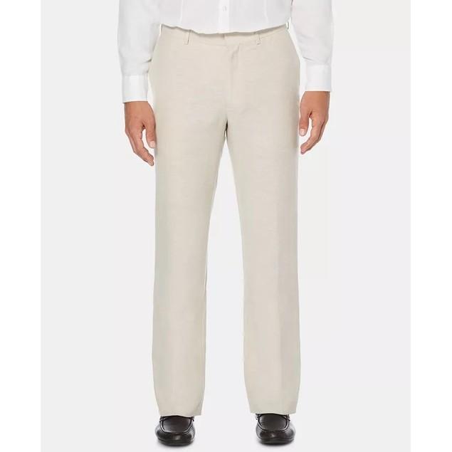 Cubavera Men's Flat Front Textured Linen Pants White Size 48X30