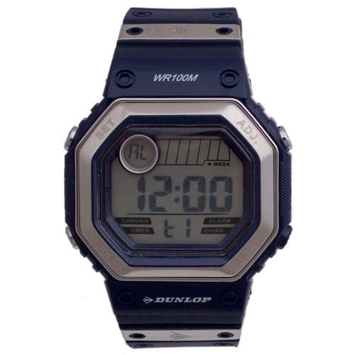 Dunlop Digital Watch Men´s DUN77G03 Silver/Navy Rubber Strap