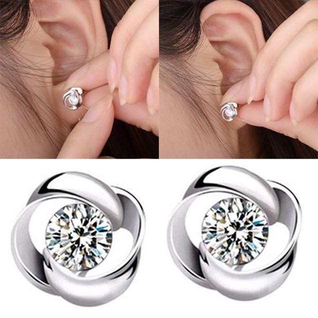 Women Silver Plated Shiny Rhinestone Earrings