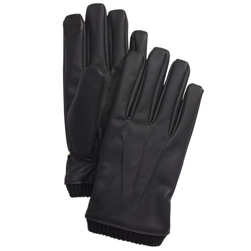 Calvin Klein Men's Faux-Leather Gloves Black Size Extra Large