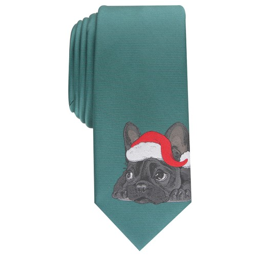 Bar III Men's Santa Bulldog Skinny Holiday Tie Green Size Regular