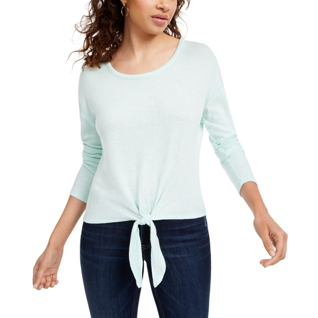Crave Fame Women's Juniors' Cozy Tie-Front Top Green Size Large