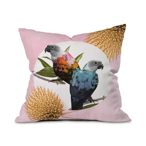 "Deny Designs Jolly Parrots Throw Pillow, Collage-Like Design, 16 X 16"","