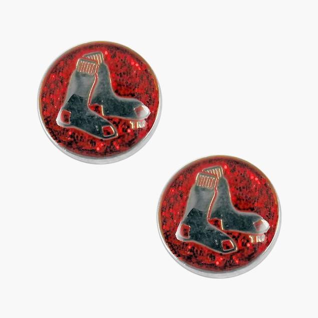 Boston Red Sox Glitter Sparkle Post Stud Logo Earring Set Charm Gift