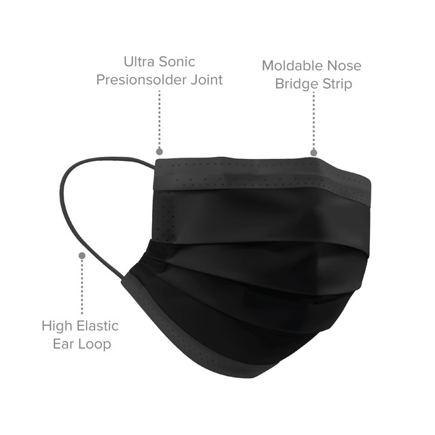 50-Pack: Disposable 3-Ply Black Face Masks