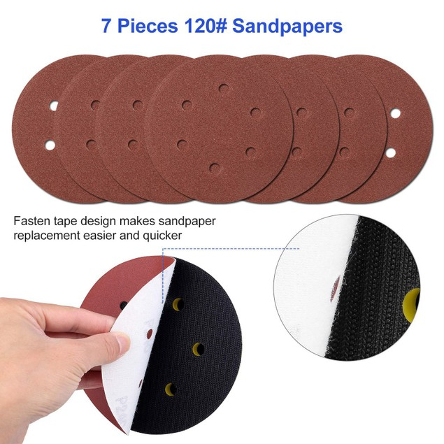 """6"""" Air Random Orbital Sander 10000RPM w/7 Sandpapers"""