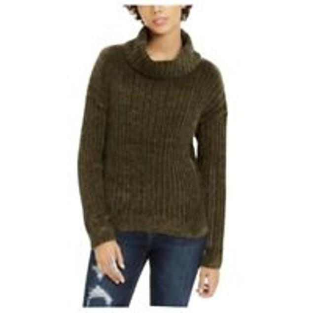 Hippie Rose Juniors' Chenille Turtleneck Sweater Green Size Large
