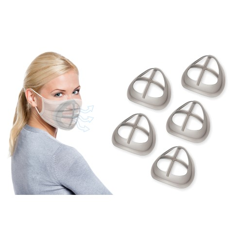 5 Pack: 3D Face Mask Brackets Comfortable Breathing with Stick-On Velcro