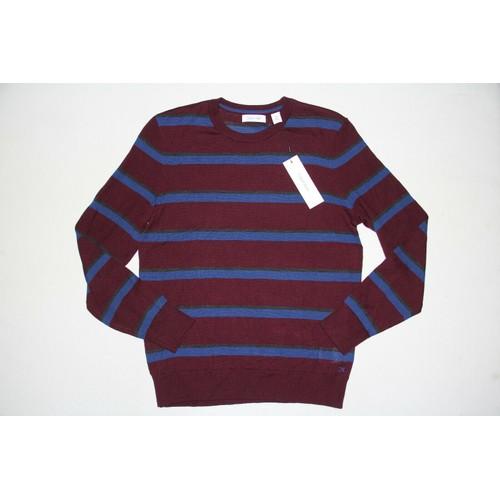 Calvin Klein Men's Bi-Color Striped Sweater Wine Size 2 Extra Large