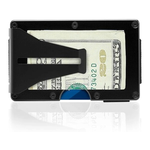 Ultra-Slim Front Pocket Wallet w/ Wireless Theft Protection, Black Aluminum