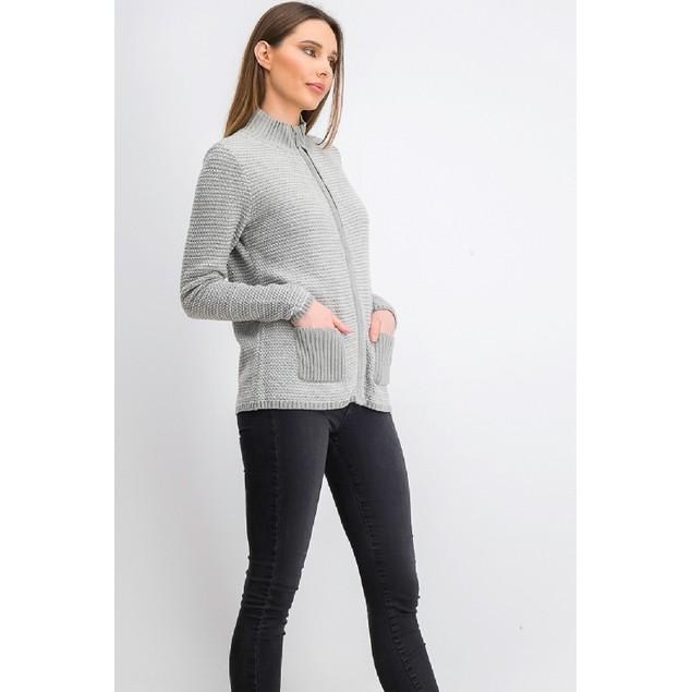Karen Scott Women's Textured Zip-Front Cardigan Gray Size Large