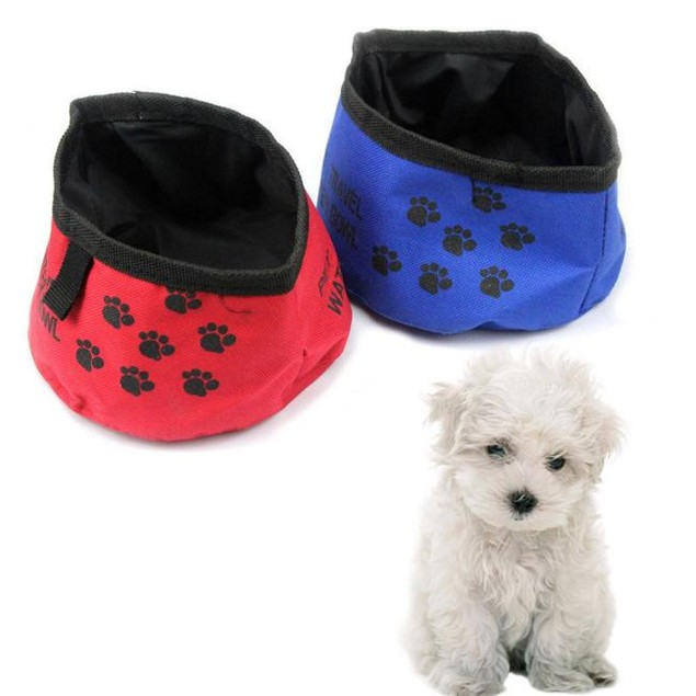 Portable Folding Collapsible Travel Pets Dogs Cats Food Water Bowl