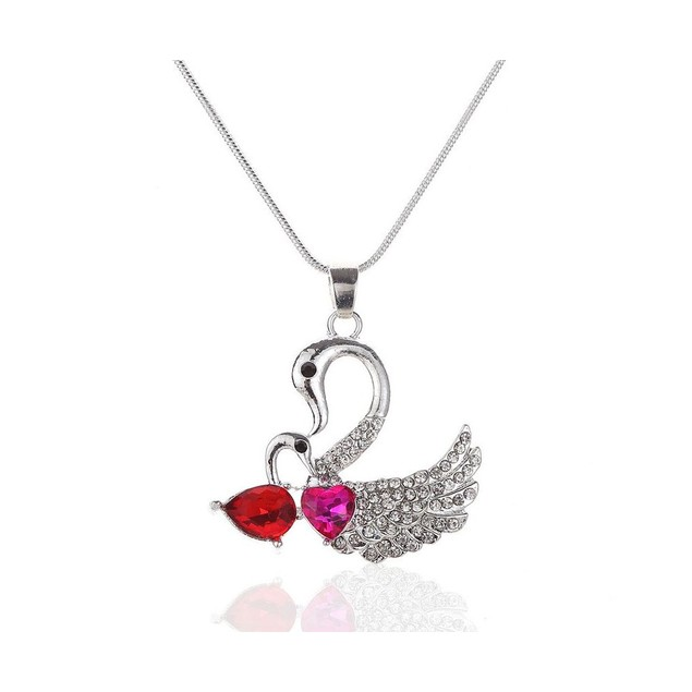 NovadabSWIMMING SWAN MOM AND BABY CRYSTALIZED NECKLACE