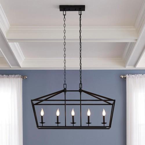 Home Decorators Collection Weyburn 5-Light Bronze Caged Island Chandelier