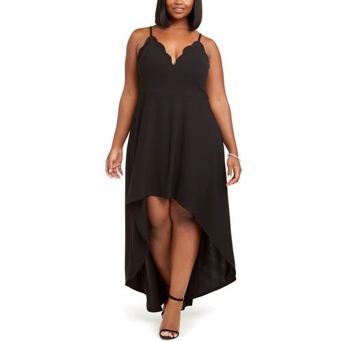 Speechless Women's Trendy Plus Size Scalloped High-Low Dress Black Size 2X
