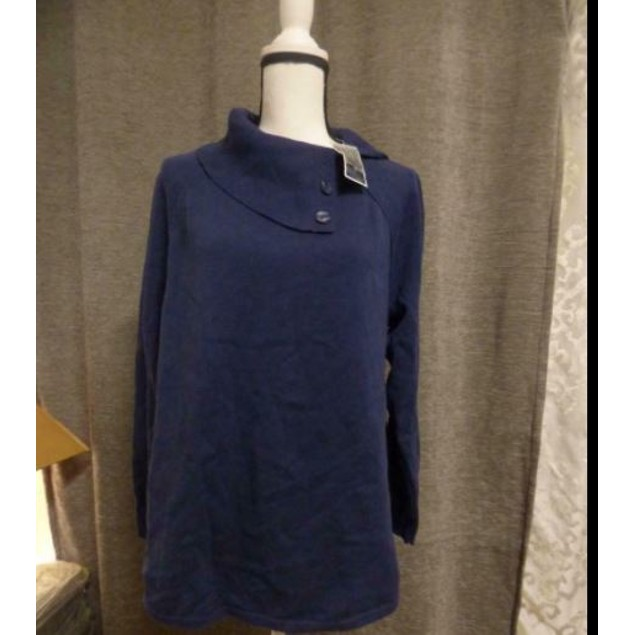 Karen Scott Women's Cotton Envelope Neck Sweater Navy Size Small