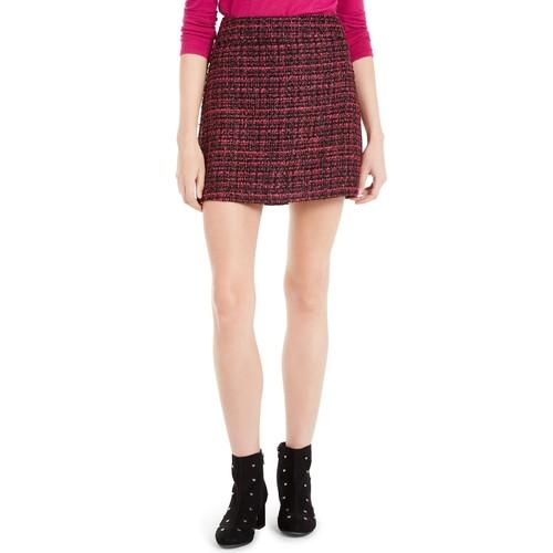 Maison Jules Women's Tweed Mini Skirt Dark Pink Size 2