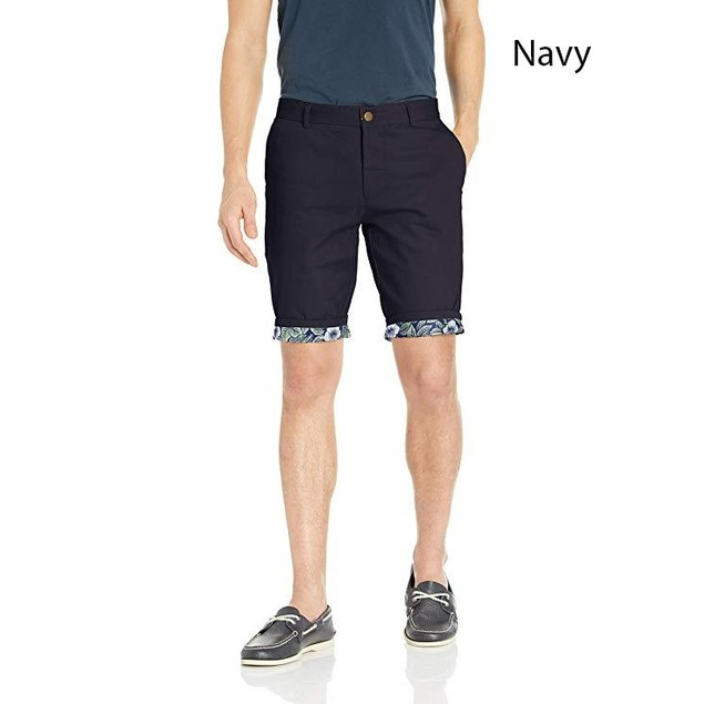 Suslo Couture Men's Casual Slim Fit Shorts With Reversable Cuff