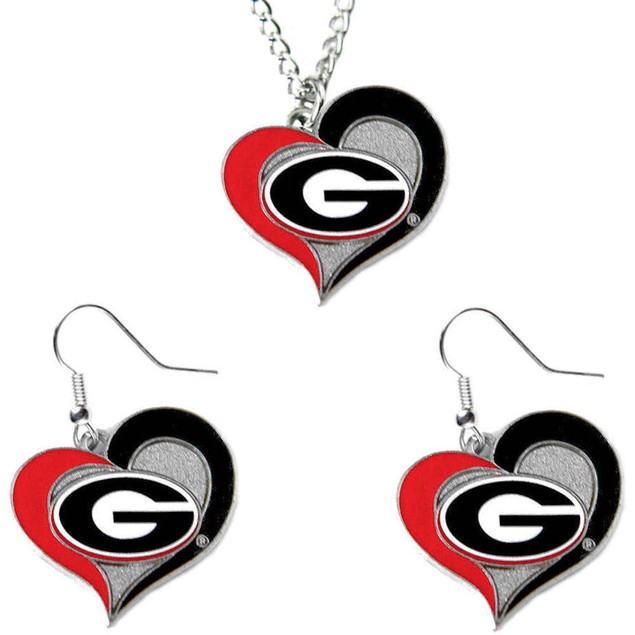 Georgia NCAA Swirl Heart Pendant Necklace And Earring Set